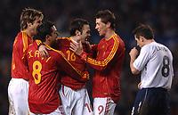 Photo: Paul Greenwood.<br />England v Spain. International Friendly. 07/02/2007. Englands Frank Lampard, right, walks dejectedlty past Celebrating Spansih Players David Albelda Xavi Hernandez, Andres Iniesta and Fernando Torres