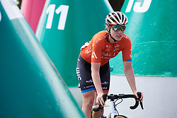 Allison Beveridge (CAN) weaves through the buoys to sign on at Deakin University Elite Women Cadel Evans Road Race 2019, a 113 km road race starting and finishing in Geelong, Australia on January 26, 2019. Photo by Sean Robinson/velofocus.com