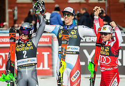 Second placed KRISTOFFERSEN Henrik of Norway, winner ZENHAEUSERN Ramon of Switzerland and third placed MATT Michael of Austria celebrate after the Audi FIS Alpine Ski World Cup Men's Slalom 58th Vitranc Cup 2019 on March 10, 2019 in Podkoren, Kranjska Gora, Slovenia. Photo by Matic Ritonja / Sportida