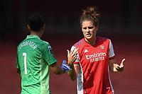 Football - 2021 / 2022 Women's Super League - Arsenal vs Chelsea - Emirates Stadium - Sunday 5th September 2021<br /> <br /> Arsenal Women's Jennifer Beattie with Manuela Zinsberger.<br /> <br /> COLORSPORT/Ashley Western