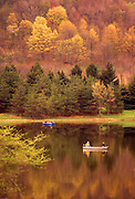 Northeast PA Landscape, fall foliage, Hills Creek State Park, fishing on lake