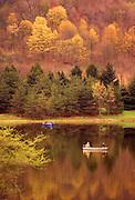 Northeast PA Landscape, fall foliage, Hills Creek State Park, fishing on lake
