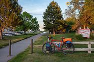 Chucks gravel bike at the trailhead of the Cowboy Trail in Valentine, Nebraska, USA MR