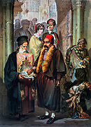 Souvenirs of the East: The Mendicant', 1857. Oil on canvas.  Amedeo Preziosi (1816-1882) Italian painter. Two meanings of Mendicant at church door; traditional beggars, right, a Religious living  by receiving alms. Turkish Ottoman