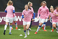Everton Women warming up before the FA Women's Super League match between Everton Women and Brighton and Hove Albion Women at the Select Security Stadium, Halton, United Kingdom on 18 October 2020.