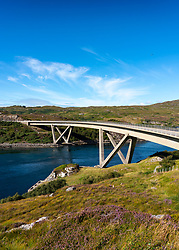 View of Kylesku Bridge crossing Loch a' Chàirn Bhàin in Sutherland, Scotland, UK