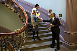 President Barack Obama greets staff in the Eisenhower Executive Office Building of the White House, Oct. 27, 2014. (Official White House Photo by Pete Souza)<br /> <br /> This official White House photograph is being made available only for publication by news organizations and/or for personal use printing by the subject(s) of the photograph. The photograph may not be manipulated in any way and may not be used in commercial or political materials, advertisements, emails, products, promotions that in any way suggests approval or endorsement of the President, the First Family, or the White House.