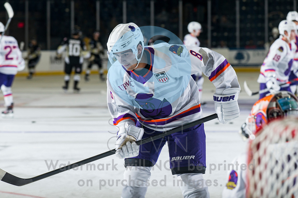 Youngstown Phantoms defeat the Muskegon Lumberjacks 4-3 in overtime at the Covelli Centre on December 5, 2020.<br /> <br /> Jack Silich, forward, 8
