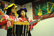 Machynlleth, Wales. 28th July, 2017. <br /> Members of the London based Latin American music and dance group, Expresion Inka, performing at the opening festival plenary session.<br /> Photographer; Kevin Hayes
