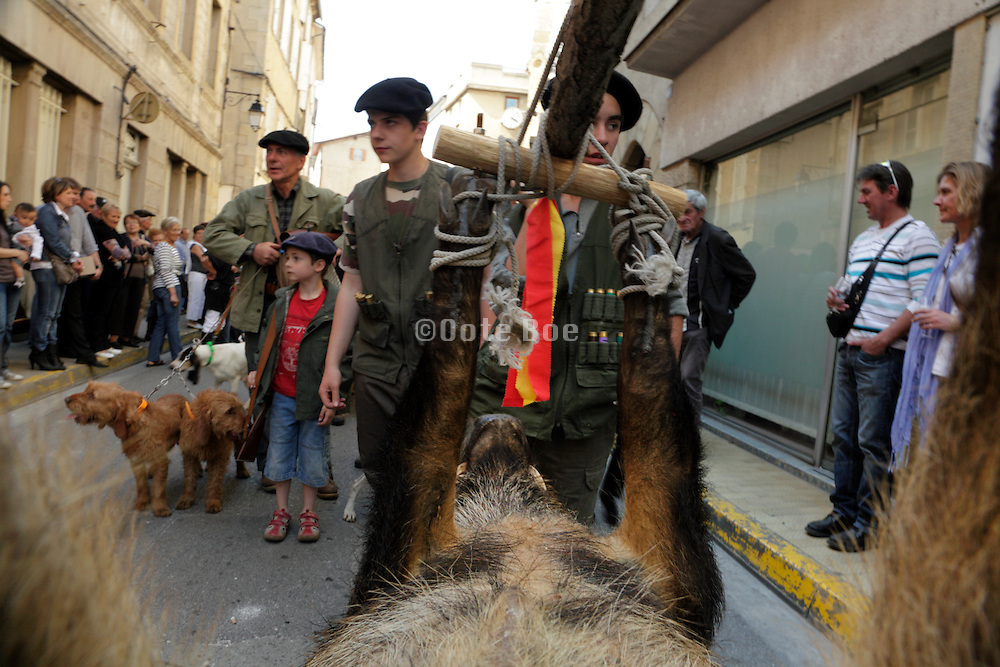 hunters in the pre event parade at the Limoux France Toque et Clocher