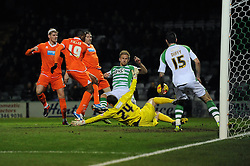 Blackpool's Ricardo Fuller takes a shot at goal. - Photo mandatory by-line: Dougie Allward/JMP - Tel: Mobile: 07966 386802 03/12/2013 - SPORT - Football - Yeovil - Huish Park - Yeovil Town v Blackpool - Sky Bet Championship