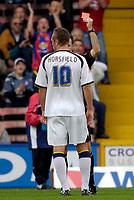 Photo: Daniel Hambury.<br />Crystal Palace v Leeds United. Coca Cola Championship. 13/08/2006.<br />Leeds' Geoff Horsefield is sent off.