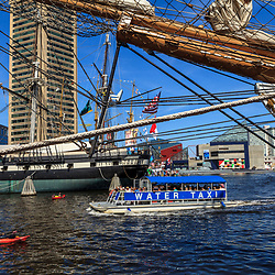 Baltimore, MD, USA - June 16, 2012: A water taxi in the Inner Harbor in the City of Baltimore, Maryland.