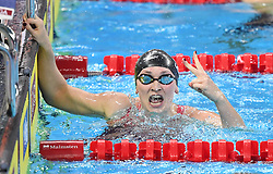 HANGZHOU, Dec. 16, 2018  Annie Lazor of the United States celebrates after winning Women's 200m Breaststorke Final at 14th FINA World Swimming Championships (25m) in Hangzhou, east China's Zhejiang Province, on Dec. 16, 2018. Annie Lazor claimed the title with 2:18.32. (Credit Image: © Xinhua via ZUMA Wire)