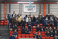 Bolton fans with a Anderson out banner hanging in the away end during the The FA Cup fourth round match between Bristol City and Bolton Wanderers at Ashton Gate, Bristol, England on 25 January 2019.