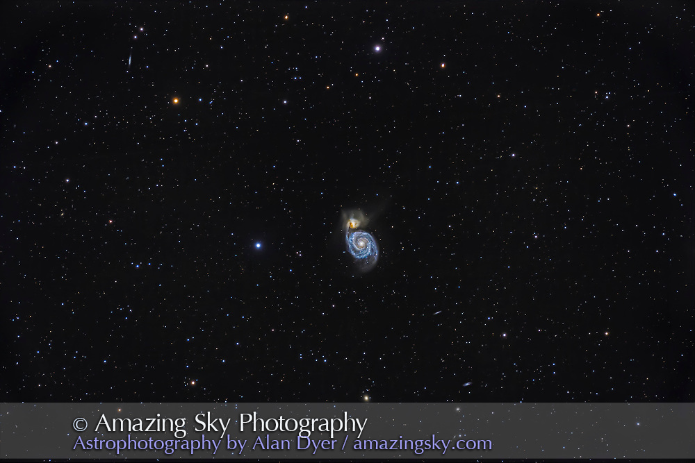 Messier 51, the Whirlpool Galaxy, the classic face-on spiral galaxy in Canes Venatici in the northern spring sky. <br /><br />This is a stack of 6 x 10-minute exposures with the Astro-Physics 130mm apochromatic refractor at f/6 (with the 6x7 Field Flattener) and with the Canon EOS Ra camera at ISO 800. As an experiment on this mild but still cool spring night I did not shoot dark frames or LENR in-camera darks to see the extent of thermal noise. There was quite a bit at the single pixel level, proving that the camera does need darks or LENR when the ambient temperature is warmer than a sub-zero winter night.