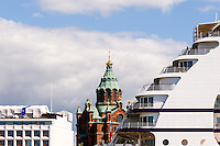 Finland, Helsinki. Uspenski Cathedral and a cruise ship.