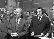 Opening of New Ogra Fianna Fail office on O'Connell St,Dublin.1982.30.01.1982.01.30.1982.30th January 1982..Image of Mr Haughey, as he addresses the assembled activists and volunteers.He is flanked by Mr Bertie Ahearn T.D.,Spokesman on Youth Affairs...