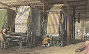 Calico printing machines powered by belt and shafting through cog wheels from a central energy source (steam or water). Hand-coloured engraving, London, 1834.