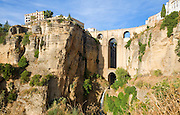 Historic New Bridge, Puente nuevo, spanning the El Tajo gorge over the Rio Guadalevín river, Ronda, Spain