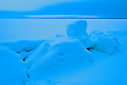 Pressure ridge on Waskasiu Lake in winter<br /> Prince Albert National Park<br /> Saskatchewan<br /> Canada