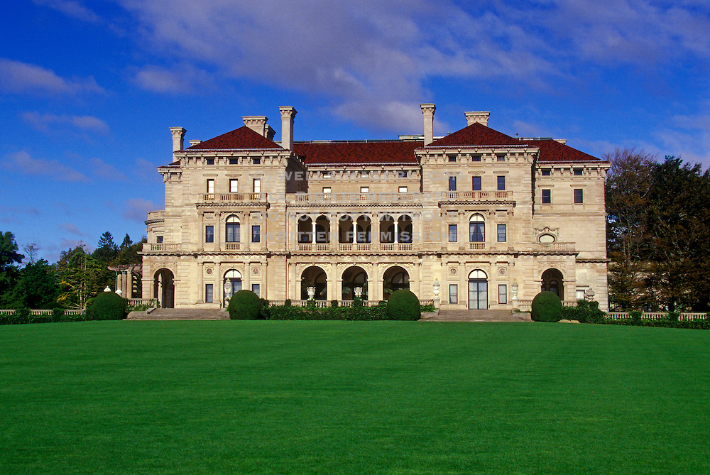 """Image of Vanderbilt's mansion """"The Breakers"""" along the Cliff Walk at the seaside town of Newport, Rhode Island, America Northeast by Randy Wells"""
