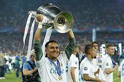 goalkeeper Keylor Navas of Real Madrid with UEFA Champions League trophy, Coupe des clubs Champions Europeens during the UEFA Champions League final between Real Madrid and Liverpool on May 26, 2018 at NSC Olimpiyskiy Stadium in Kyiv, Ukraine