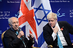 File photo dated 10/11/15 of Boris Johnson (right) meeting with former Israeli President Shimon Peres, who has died aged 93.