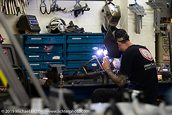 Aaron Boss working on a project at Roland Sands Design (RSD) retail and office location, Los Alamitos, CA. Monday June 25, 2018. Photography ©2018 Michael Lichter.