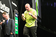 The moment Michael van Gerwen wins the 2016 Premier League during the Betway Premier League Darts Play-Offs at the O2 Arena, London, United Kingdom on 19 May 2016. Photo by Shane Healey.
