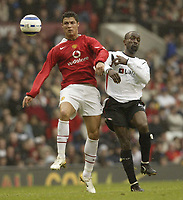 Photo: Aidan Ellis.<br /> Manchester United v Charlton Athletic. The Barclays Premiership. 07/05/2006.<br /> united's Cristiano Ronaldo and Charlton's Chris Powell