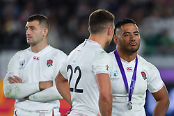 England's Manu Tuilagi with Henry Slade after their 32-12 defeat in the 2019 Rugby World Cup final match against South Africa at Yokohama Stadium.