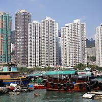 Asia, China, Hong Kong. Aberdeen Harbor cruise in a traditional sampan.