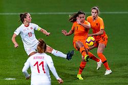 09-11-2018 NED: UEFA WC play-off final Netherlands - Switzerland, Utrecht<br /> European qualifying for the 2019 FIFA Women's World Cup - Lieke Martens #11 of Netherlands, Lia Walti #13 of Switzerland, Vivianne Miedema #9 of Netherlands