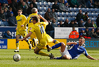 Photo: Steve Bond/Richard Lane Photography. Leicester City v Cardiff City. Coca Cola Championship. 13/03/2010. Richie Wellens (R) tackle results in injuries to Kevin McNaughton (2) and Stephen McPhail (10)