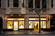 Despite the city being in Stage 3 lockdowns, non essential luxury goods store Fendi on Collins Street, continues to trade during COVID-19. After seeing another 177 cases overnight and further outbreaks in nursing homes, Metropolitan Melbourne and the Mitchell Shire are in lockdown following the rise of active cases to 1,612. The new restrictions came into effect on Thursday 9 July with residents in lockdown areas under stay at home orders for the next six weeks. (Photo be Dave Hewison/ Speed Media)