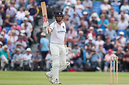50! Dominic Sibley of Warwickshire reaches his half century during the Specsavers County Champ Div 1 match between Yorkshire County Cricket Club and Warwickshire County Cricket Club at York Cricket Club, York, United Kingdom on 18 June 2019.