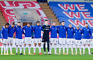 Leeds United players in a minutes silence during the Premier League match between Crystal Palace and Leeds United at Selhurst Park, London, England on 7 November 2020.