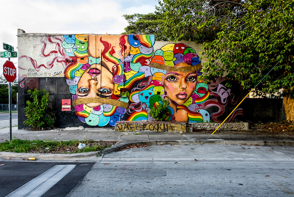 A mural depicting the faces of two beautiful women -- one upside down -- on a wall in Miami's beginning to redevelop Buena Vista West neighborhood, just north of Wynwood.