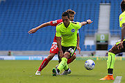 Beram Kayal of Brighton and Hove Albion and Coke of Sevilla during the Pre-Season Friendly match between Brighton and Hove Albion and Sevilla at the American Express Community Stadium, Brighton and Hove, England on 2 August 2015. Photo by Ellie Hoad.