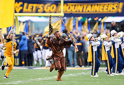 Sep 8, 2018; Morgantown, WV, USA; The West Virginia Mountaineers mascot leads the West Virginia Mountaineers onto the field before their game against the Youngstown State Penguins at Mountaineer Field at Milan Puskar Stadium. Mandatory Credit: Ben Queen-USA TODAY Sports