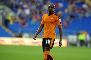 Benik Afobe of Wolverhampton Wanderers looks on. Skybet football league championship match, Cardiff city v Wolverhampton Wanderers at the Cardiff city stadium in Cardiff, South Wales on Saturday 22nd August 2015.<br /> pic by Andrew Orchard, Andrew Orchard sports photography.