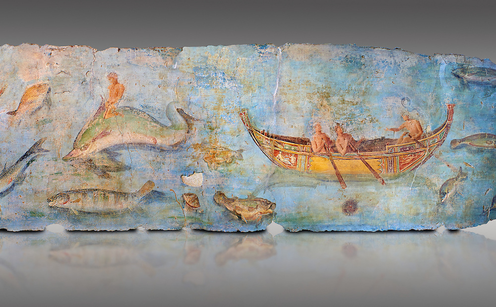 Roman Fresco with boats and marine life from the second quarter of the first century AD. (mosaico fauna marina da porto fluviale di san paolo), museo nazionale romano ( National Roman Museum), Rome, Italy. inv. 121462 .  Against a grey background.<br /> The frescoes depict boats decorated as boats which went along the Tiber on festival days; their shape appears to be the caudicariae boats, used to transport merchandise. In the fresco fragment exhibited here (Ambiente E) the boat on the left depicts probably the group of 'side Serapide and Demetra on the stern, whereas the one on the right presents a crowned character on the bow and, on the stern, a feminine figure fluctuating in the air. Between the two boats, a young boy (a cupid or Palaimon-Portunus) rides a dolphin. All around are depicted several fish incredibly casting their shadows on the sea. The ichthyic fauna, lifeless as in still life decoration, is detailed as in a scientific catalogue. For the most part the represented species live next to the coast or were bred by the Romans in the piscinae salsac or in ponds. It is possible to recognize the rock mullet (mullus sunnuletus) and the mud one (mullus barbatu4 the scorpion fish (scorpoena) the dentex (dentex dentex), the aguglia (belone agus) the dolphin (delphinus delphis) and the golden mullet (lire curate). .<br /> <br /> If you prefer to buy from our ALAMY PHOTO LIBRARY  Collection visit : https://www.alamy.com/portfolio/paul-williams-funkystock/national-roman-museum-rome-fresco.html<br /> <br /> Visit our ROMAN ART & HISTORIC SITES PHOTO COLLECTIONS for more photos to download or buy as wall art prints https://funkystock.photoshelter.com/gallery-collection/The-Romans-Art-Artefacts-Antiquities-Historic-Sites-Pictures-Images/C0000r2uLJJo9_s0