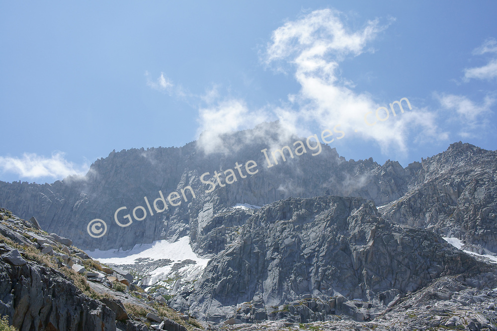 Clouds along the ridgeline above Precipice Lake in Sequoia National Park