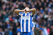 Brighton & Hove Albion winger Anthony Knockaert scores a goal & celebrates at 3-0 during the EFL Sky Bet Championship match between Brighton and Hove Albion and Queens Park Rangers at the American Express Community Stadium, Brighton and Hove, England on 27 December 2016. Photo by Bennett Dean.