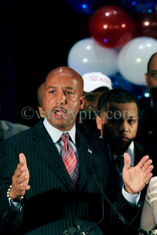 April 22nd, 2006. New Orleans, Louisiana. Voting day. Mayor Ray Nagin speaks to the press after securing a run off with opponent Mitch Landrieu.<br /> Photo; Charlie Varley/varleypix.com