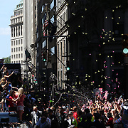 The  US Women's Soccer Team float containing Abby Wambach, Christy Rampone, Reece and Ryle Rampone, Christen Press, Julie Johnston, Whitney Engen and Governor Cuomo, Parades Down NYC's 'Canyon of Heroes', Manhattan New York, during their ticker tape parade after winning the FIFA World Championship. A ceremony at City Hall Plaza followed the parade hosted by Mayor Bill de Blasio. Manhattan, New York, USA 10th July 2015. Photo Tim Clayton