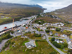 Aerial view from drone of Tarbert on Isle of Harris, outer Hebrides, Scotland, UK