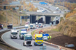 © Licensed to London News Pictures. 05/11/2020. Leeds UK. Heavy traffic on the A1 Motorway outside Leeds, Yorkshire, this morning on the first day of lockdown in the UK. photo credit: Andrew McCaren/LNP
