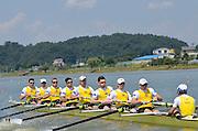 Chungju, South Korea,  AUS M8+. Ned KINNEAR (b) , Cameron BREWER (2) , Angus MOORE (3) , Alexander HILL (4) , George ELLIS (5) , Scott LAIDLER (6) , Brendan MURRAY (7) , Tom GATTI (s) , David WEBSTER (c) 2013 FISA World Rowing Championships,  at the Tangeum Lake International Regatta Course. 14:02:07  Monday  26/08/2013 [Mandatory Credit. Peter Spurrier/Intersport Images]